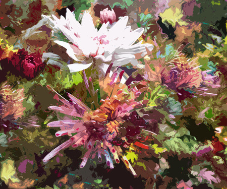 Stylized floral applique background with chrysanthemums photo