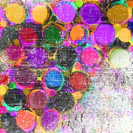 Background with row of colorfull grunge striped and stained circles and rings  photo