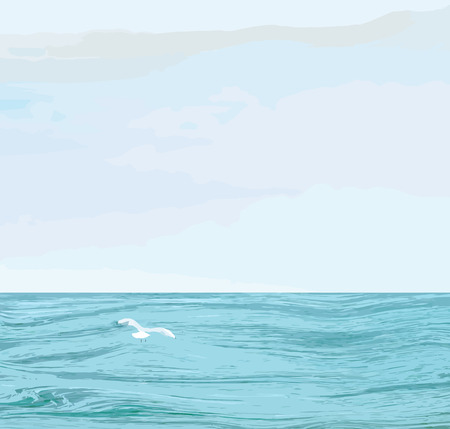 Seascape with wavy sea surface,cloudy sky, flying seagull Vector