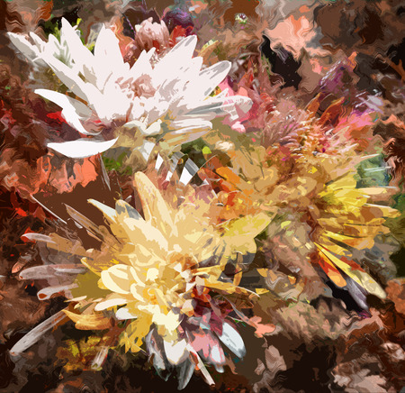 Grange stained colorful abstract floral  background with chrysanthemums photo