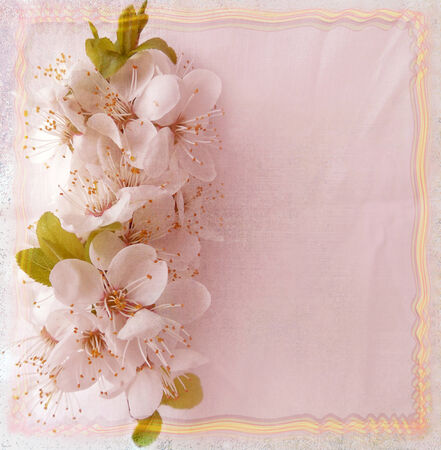 Greeting floral card with cherry flowers and wavy frame in pastel colors photo
