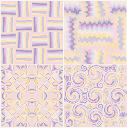 Set of grunge striped,stained,swirled and zigzag seamless patterns in pastel colors Vector