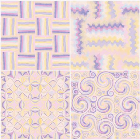 Conjunto de grunge rayado, manchado, se arremolinaba y patrones sin fisuras en zigzag en colores pastel