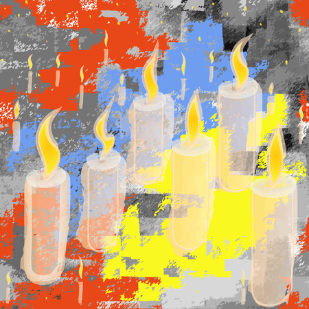 Seamless background with flamed candles on  blue-yellow ukrainian banner  Vector