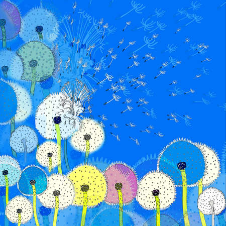 Background with abstract colorful dandelions and seeds flying in the blue sky photo