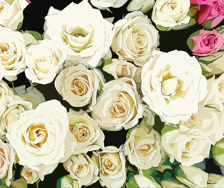 mourn: Bouquet of stylized white and pink roses on black background