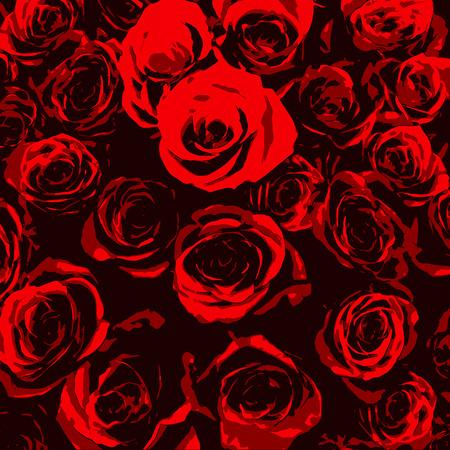 rosas negras: Rosas rojas estilizadas sobre fondo negro Vectores
