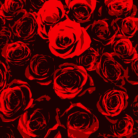 Stylized red roses on black background Vector