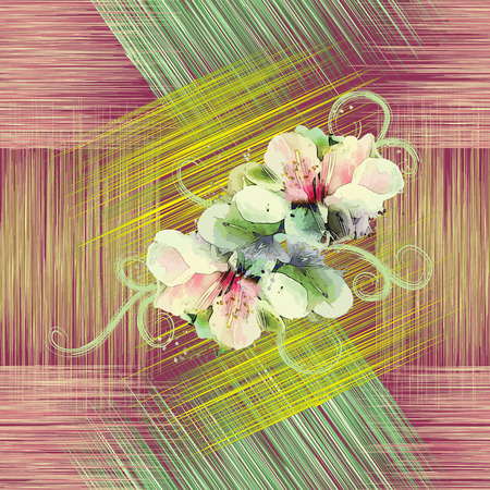 Seamless pattern with spring flowers on grunge striped colorful background Vector