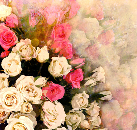 Floral greeting card with bouquet of roses on hazy background photo