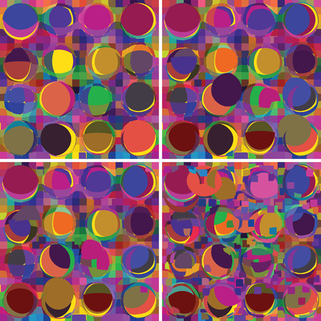 Set of grunge circled and stained colorful backgrounds Vector