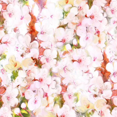 Floral background with cherry flowers in pastel colors photo