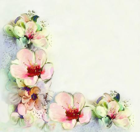 flor de durazno: Tarjeta de felicitación de la vendimia con flores brillantes de la primavera