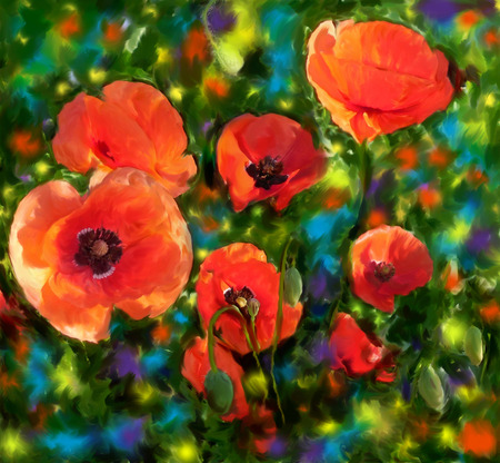 Floral card with bright red poppies on grunge stained colorful background           photo
