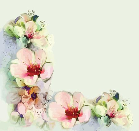 flor de durazno: Tarjeta de felicitación de la vendimia floral con flores de primavera Vectores