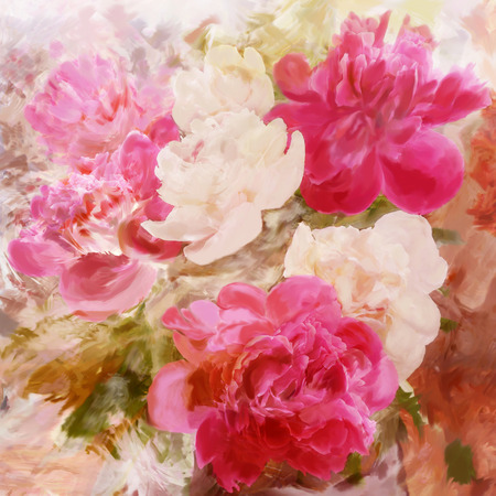 Floral vintage greeting card with bouquet of peony on grunge stained colorful background photo