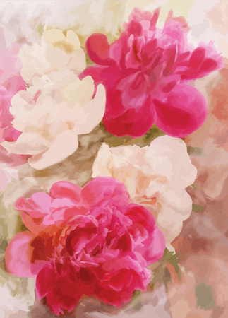 Greeting floral card with peony on grunge stained colorful background Vector