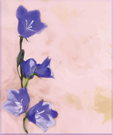 Greeting floral card with bluebells on grunge stained background Illustration