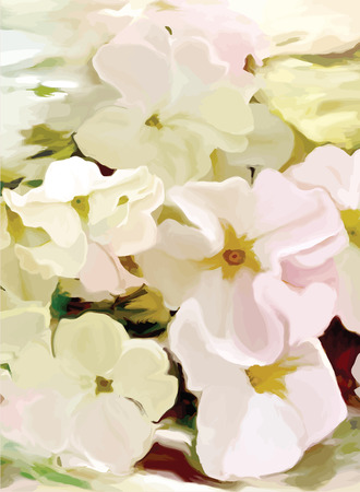 petunia: Floral greeting card with stylized white petunia on grunge stained background
