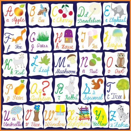 English colorful alphabet with letters,words and pictures isolated on scraps of notebook paper Vector