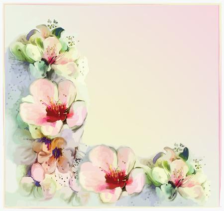 Biglietto di auguri floreale con fiori di primavera stilizzati in colori pastello Archivio Fotografico - 31712458