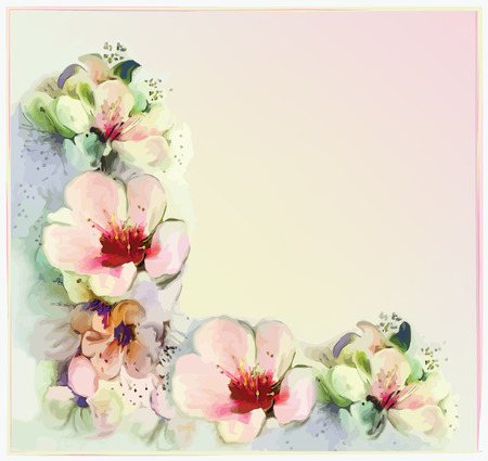 Greeting floral card with stylized spring flowers in pastel colors