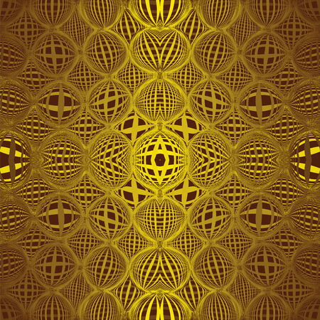 Seamless pattern with row of grunge striped golgen circles on brown background Vector