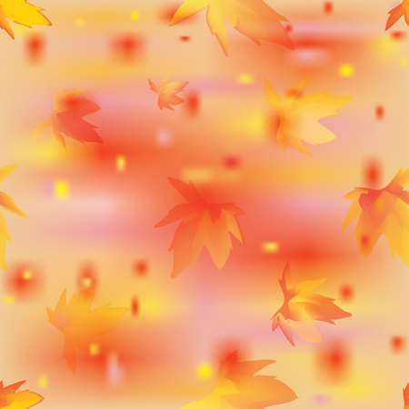 Seamless autumnal pattern with  stylized marple leafs on grunge stained background in yellow,orange,violet colors