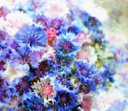 Floral card with bouquet of stylized cornflowers on grunge stained hazy background photo