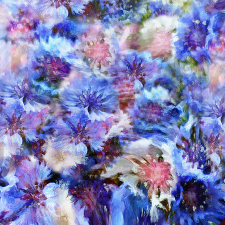 Stylized colorful cornflowers on grunge stained hazy background photo