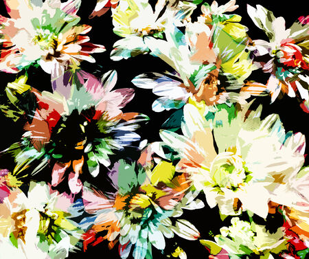 Grunge stained stylized chrysanthemums on black background photo