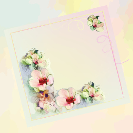 Greeting floral card in pastel colors with abstract flowers,ribbons,space for text Vector