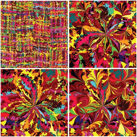Set of rainbow grunge stained seamless patterns Vector