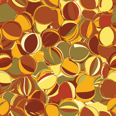 linoleum: Seamless pattern with chaotic rows of  grunge striped and stained ovals in brown,green,yellow colors