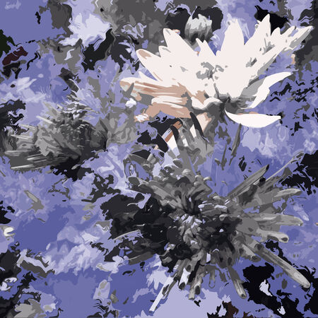 is troubled: Sketching floral grunge stained troubled background with chrysanthemums in black,white,blue colors