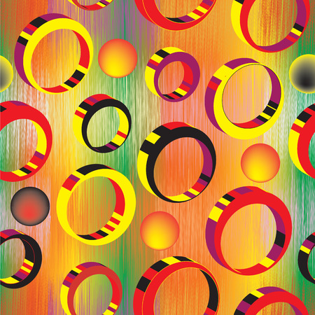 Seamless pattern with 3d colorful rings on grunge striped rainbow background Vector