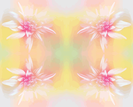 Seamless symmetric  pattern with white chrysanthemum on grunge stained background in pastel colors Vector