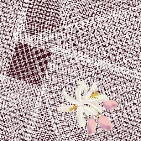servilleta de papel: Modelo incons�til con los cuadrados blancos grunge rayas servilleta de encaje con flores Vectores