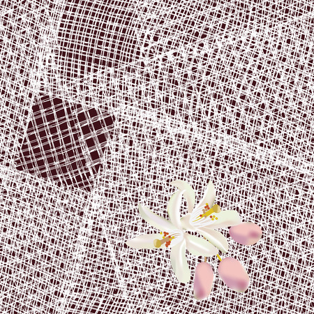 serviette: Seamless pattern with white squares grunge striped lacy serviette with flower