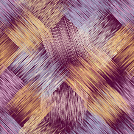 purple grunge: Seamless pattern with grunge striped crossed colorful elements on purple background Illustration