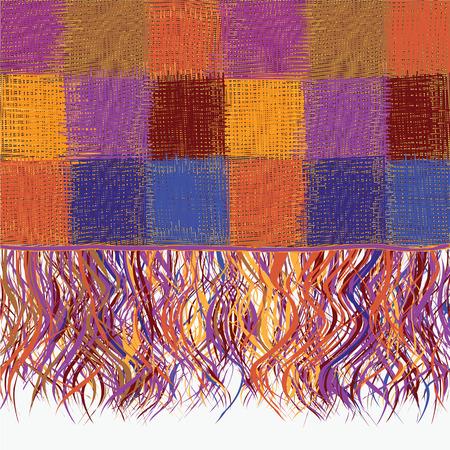 blue blanket: Colorful checkered grunge striped plaid with fringe Illustration
