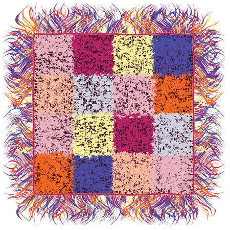 fringe: Colorful checkered grunge stained quilt plaid with fringe