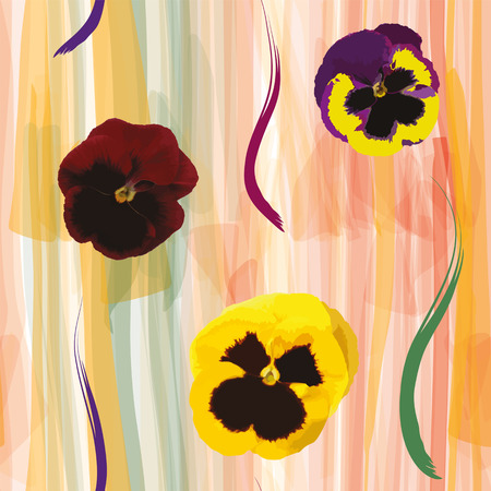 viola: Floral seamless composition with viola flowers on grunge striped colorful watercolor background