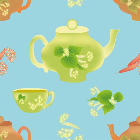 an inflorescence: Seamless composition with inflorescence of linden ,teapot and cup on blue background