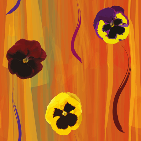 violas: Seamless composition with colorful violas on grunge striped background