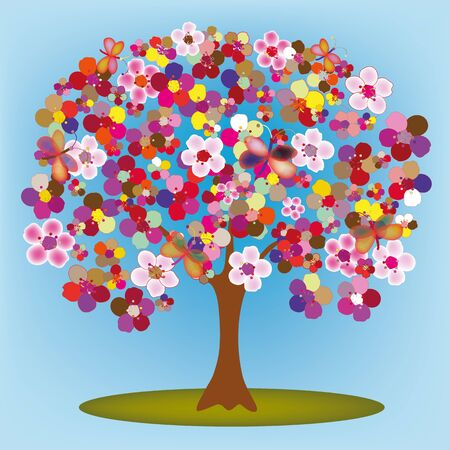 blossoming: Cartoon blossoming tree with colorful abstract flowers and butterflies Illustration