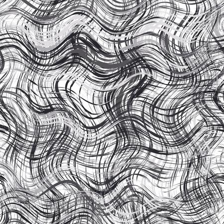 cuadros blanco y negro: En blanco y negro a rayas grunge y sin fisuras patrón ondulado