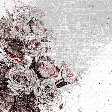 grunge floral: Floral grunge stained and striped grey wall background with stylized roses Stock Photo