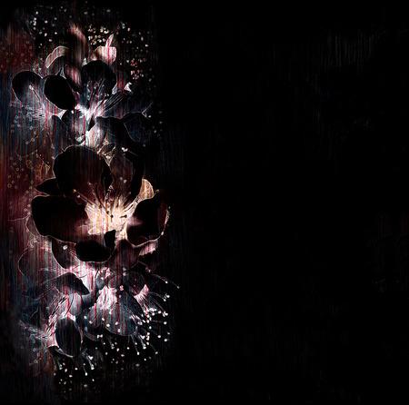 黒、白、紫の色でフレアリング春の花を様式化された花の背景