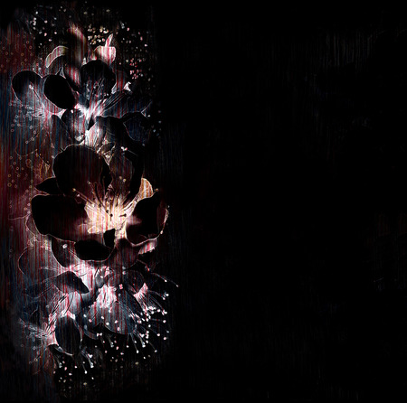 Floral background with stylized flaring  spring flowers in black,white, violet colors photo